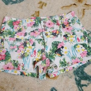 Almost Famous Tropical Demin Shorts Size 11
